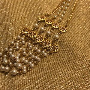 Faux Gold and Pearl Necklace.
